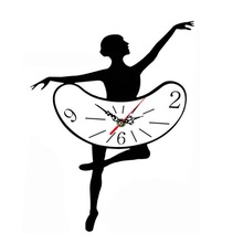 DIY Ballet Girls Design Wall Clock Personal Super Quiet Home Living Room Decoration Wall Sticker Clock(China)