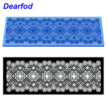 MX116 Elegant flower Pattern Lace Mold Silicone Sugar Lace Pad Cake Brim Decoration Mold Kitchenware DIY Tool(China)