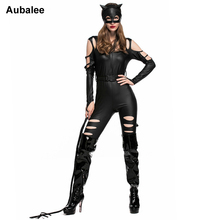 Aubalee 2017 New Cat Women Black Jumpsuit Catwoman Sexy Costumes Party Catsuit Faux Leather Night Bodysuit With Holes(China)