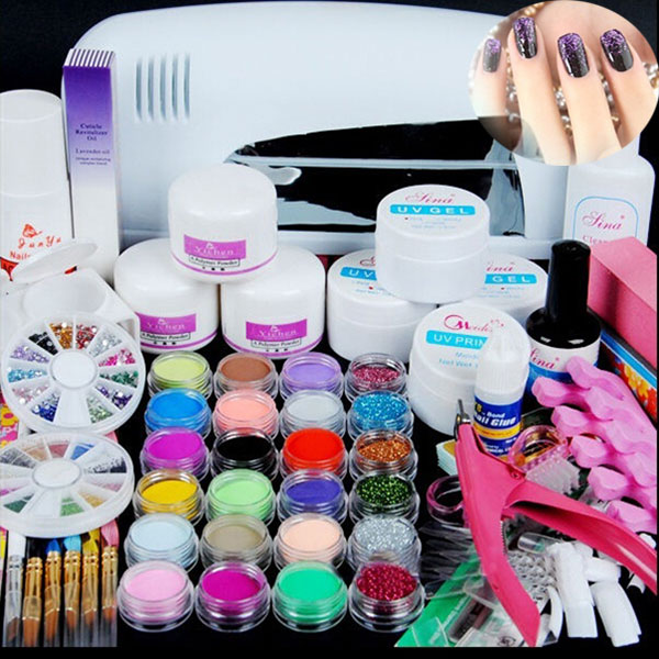 Hot Manicure Tools Combination Crystal Nails Kit Nail Phototherapy Crystals Suit HJL2017<br>