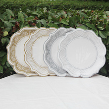 30cm Large Paper Plates Gold Silver Petal Round Disposable Plates Birhtday Party Supplies 12pcs/lot(China)