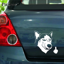 1PC 13.7*14.2CM Huskies Dog Despise Animals Stickers Car Styling Anime Motorcycle Car Stickers And Decals Exterior Accessories(China)