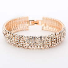 Luxury Crystal Bracelets For Women Gold and Silver Plated Link Bracelet Bangle Fashion Full Rhinestone Jewelry For Women #B011