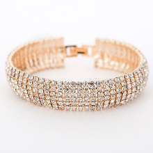 Luxury Crystal Bracelets For Women Gold and Silver Plated Link Bracelet Bangle Fashion Full Rhinestone Jewelry For Women #B011(China)
