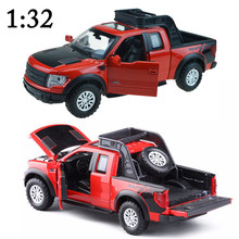 1:32 Raptor F150 Alloy Car Models Toys Pull Back Flash&Music Diecast Metal Hot Wheels Pickup Trucks Classic Car For Boys Child