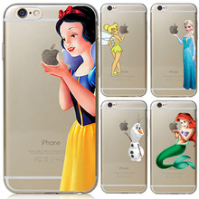 For Apple iPhone 6 6S Case Snow White Tinker bell Mermaid Hard Back Cover For iPhone 6s Case 2016 New arrival For iphoen 6s Case