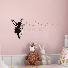 DCTOP Little Fairy Holding A Dandelion Wall Decals Home Stickers Vinyl Art Self Adhesive For Girl Bedroom