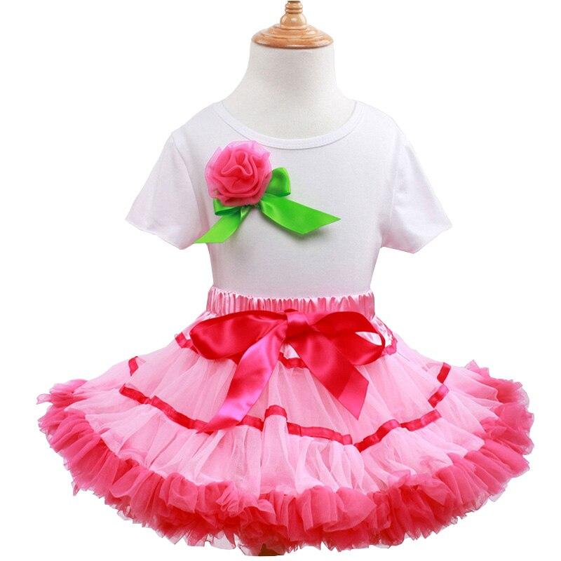 Sweet Girls 2pcs Set Baby Bodysuit+Tutu Pettiskirts Tutu Princess Party Skirts Kids Girl Dance Wear Birthday Pink Clothes Set <br>