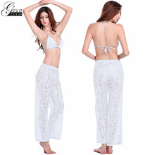 New Summer new Europe sexy straight lace trend casual trousers comfort breathable hollow Crochet beach pants Free shipping