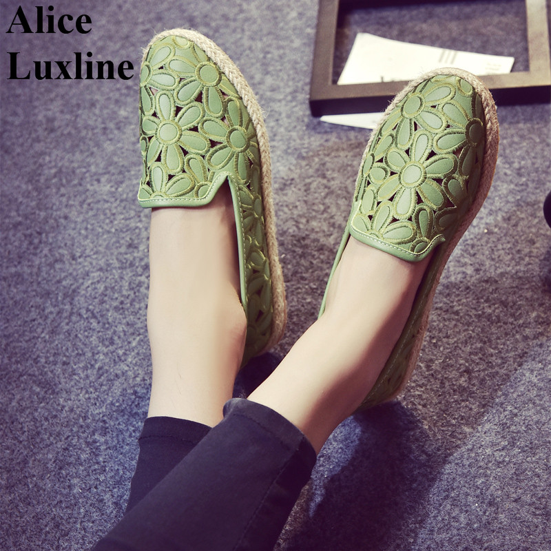New 2017 summer women casual fisherman shoes hollow out flats flower shoes retro Green pink ladies slip-on lazy shoes autumn UK<br><br>Aliexpress