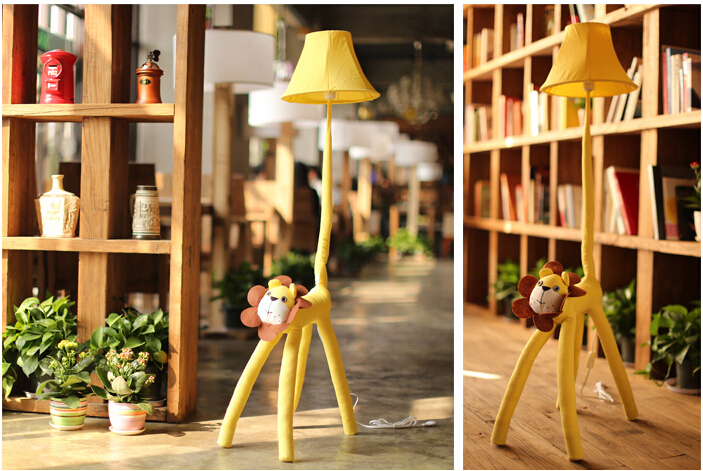 free shipping cottage children e27 floor lamp environmental cartoon rustic fabric bedside lamp cute lion animal light DY-1164<br><br>Aliexpress