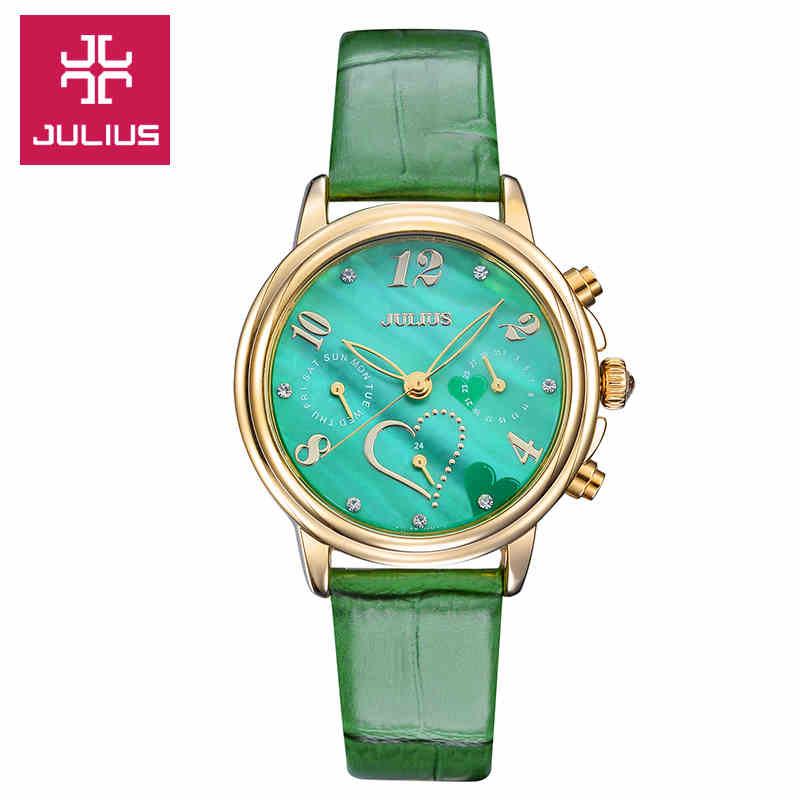 Top Julius Womens Lady Wrist Watch Fashion Shell Hours Dress Sport Leather Auto Date School Student Girl Valentine Gift<br>
