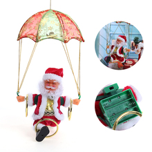Skydiving Santa Claus Christmas Decaration Electric Santa Claus Plush Doll Parachute  Xmas Tree Decor Best  Gift for Children