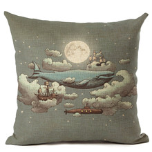 Maiyubo Pillowcase Luxury Moonlight Sailling Boat Shark Cushion Cover Home Sofa Chair Car Decor Pillow Cover Cotton Linen PC214(China)