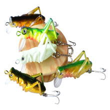 YeMuLang 10pcs/lot Fishing Lure Carp Hard Grasshopper Artificial Bait Fly Fishing Tackle Locust Lures Hook BB531(China)