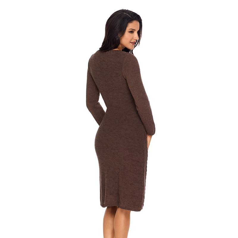 ADEWEL 2018 Spring Women Long Sleeve Bodycon Sweater Dress Casual Hand Knitted Midi Dress Elegant Inner Wear Womens Dresses (13)