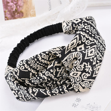 2017 New Woman Black Plaid Headband Girls Fashion Wide Elastic Headwrap Summer Hairband Bohemian Beach Paisley Hair Accessories