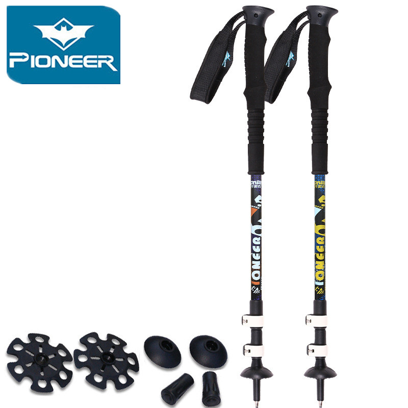 2pcs/lot Pioneer external lock Adjustable carbon fiber aluminum Camping Hiking Walking Stick Climbing Trekking Pole walk cane<br>