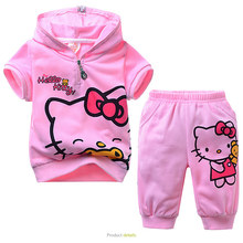 BEST OFFER Hello Kitti Summer Suit Girls  Clothing Sets Baby Girl Shorts Lovely Short Sleeves Boutique Outfits Sportswear MS0332