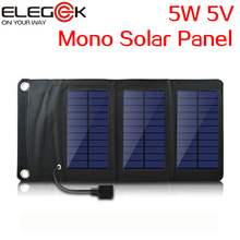 ELEGEEK 5W 5V Folding Solar Panel Charger Pack Outdoor Portable Solar Panel Charger Built in Voltage Controller for Mobile Phone