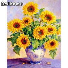 Full Square Diamond Embroidery 5D Diamond Painting Cross Stitch Mosaic Kit Sunflowers Blue and white porcelain Home Decor CC1741