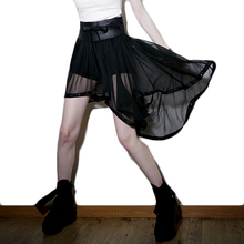 Steampunk Summer Chiffon Skirt Gothic Punk Womens Asymmetic Sexy Black Skirts With Butterfly Lace-up High Waist Tutu(China)