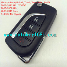 newest and hottest sell autokey for toyota HILUX VIGO Yaris 4button flip remote key control 434mhz with uncut blade
