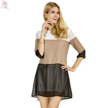Women Mini Shift Dress Half Sleeve Contrast Color Block Loose Casual Chiffon 2017 Fall Fashion