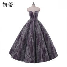 Charming Backless Sequined Lace Sweetheart Ball Gown Wedding Dress 2017 Purple Off The Shoulder Lace Up Sleeveless Bridal Gowns(China)