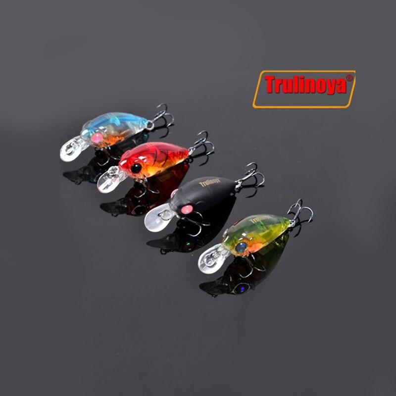 Trulinoya Fishing Lure DW24 35mm 3.5g 1.2m Mini Crank Fishing Lures Hard Bait Lure with Hooks Red/Green/Blue/Black 3