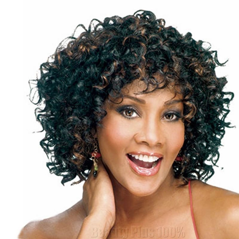 Fashion Natural Black Tight Kinky Curly Short Heat Resistant Synthetic Hair Women Wigs With Bangs synthetic cruly wig Perruque<br><br>Aliexpress