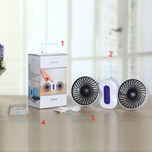 2 Motors Summer Couples Air Conditioner Fan Rechargeable Li Battery Air Conditioning Ventilador Fans Portable Mini USB Fan(China)