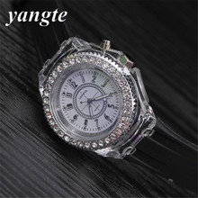 YANGTE LED Luminous Colorful Lights Silicone Watch Women Ladies Quartz Wrist Watch Men Relogio Feminino Montre Femme Reloj H33(China)