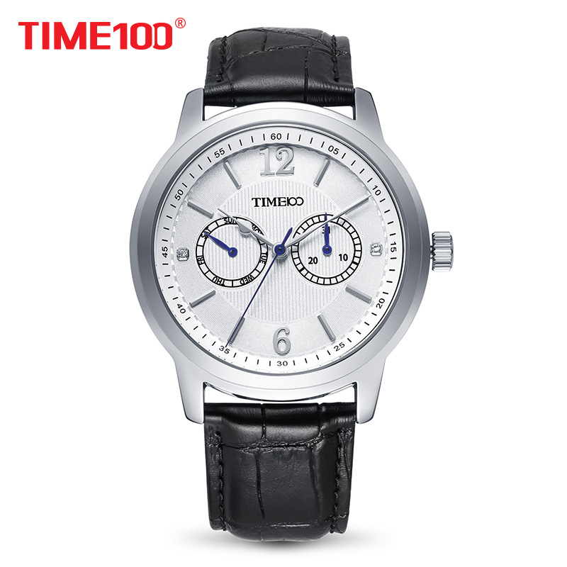 Time100 Men Watches leather strap quartz men wristwatch business casual style analog display date white color<br>