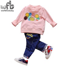 Retail 1-4 years set long sleeves T-shirt + pants child children spring fall autumn printed smile