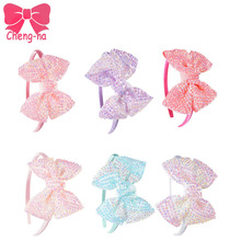 6pcs/lot Baby Rhinestone Charms Bows With Satin Hair Band Bling Bling Headwear Children Kids Headband Hair accessories Hair Hoop()
