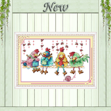 The chicken knitting a sweater cartoon painting Counted print on fabric Cross Stitch Needlework kits DMC 14CT 11CT Embroider Set(China)