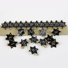 24pcs Mini Wooden Photo Clips Black Numbered Clothespin Paper Peg Kids Math Activities Number with Glitter star Christmas Decor(China)