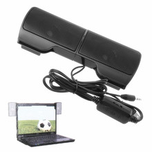 1 Pair Mini Portable Clip-on USB Stereo Speakers line Controller Soundbar for Laptop Notebook Mp3 PC Computer with Clip #R179T#