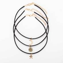 Tomtosh 3 Pcs Sets Star Moon Sun Chokers Necklaces Alloy Pendants Maxi Necklaces For Unisex Hot-selling Necklace Sets