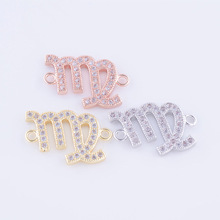 Gold Color Zodiac Pendant Charm Constellation Signs Charms Connector For Jewelry Making 12 Constellation DIY Jewelry Parts
