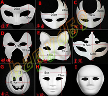 High quality DIY mask hand painted Halloween white face mask Zorro crown butterfly blank paper mask masquerade 50pcs