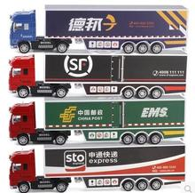 New kids toy truck model car Logistics transport vehicles EMS SF 1:50 sound light alloy door open gift boy POST free shipping