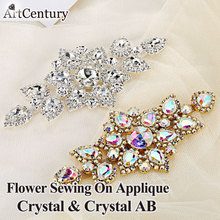 6.3x14cm 1pcs Dazzling Glass Material High Quality Strass Crystal AB Rhinestones Applique For Wedding Decoration