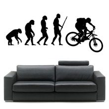 Darwin EVOLUTION OF MAN MOUNTAIN BIKE vinyl wall art sticker room decal Creative Bedroom Home Decor Mural Wallpaper D346