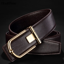 Buy HooltPrinc Top Man Belts Luxury High Cow Genuine Leather Belts Men Smooth Buckle Business Wedding Waist Male Kemer for $13.56 in AliExpress store