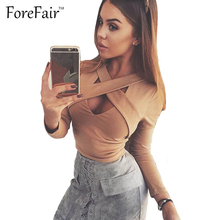 Forefair Sexy Chest Criss Cross Bandage Midriff Tops 2017 T Shirt Women Long Sleeve Crop Top Ladies Cropped Feminino Slim Blusa(China)
