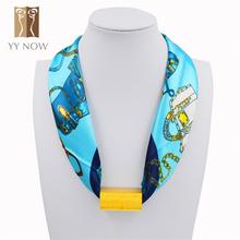 [YY NOW]Scarf with gold Rectangular body in red blue pink 2015 women fall fashion silk scarf autumn scarves new brand bandana