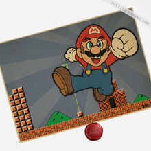 Wholesale 11pc Arts Crafts Super Mario childhood games retro retro Kraft poster 42 x 30CM Decoration Oil Painting(China)