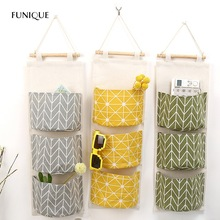 FUNIQUE Multilayer 3 Pockets Hanging Organizers Kitchen Bathroom Sundries Storage Bag Linen Wall Door Wardrobe Hanging Bag(China)